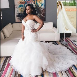 Vintage Ivoire 2021 Trompette Mermaid Robes de mariée Sweetheart Corsage de dentelle Corsage Sweetheart Col À Cou Lace Up Plus Taille Robe de mariée JKA021