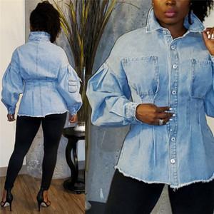Dropshipping Sonbahar Kış Bayan Denim Ceket Moda Sıkı Bel Tek Breasted Çoklu Coat 2020 Lüks Designer Giyim Womens Pockets