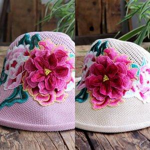 CsqYv Nuovo Ethnic cappello ricamato stile etnico Group Yunnan lavorato a maglia tridimensionale grande fiore della cavità di modo del tutto-fiammifero embroi traspirante
