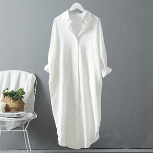 VogorSean Cotton Mulheres Blusa Verão New linho Algodão Casual Plus Size longa seção Womans Shirts Branco / Azul 200924
