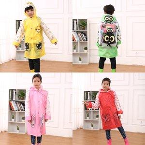 1gRQN Karikatur Kinderregenmantel Jungen Cloak Mädchen Kinder Kindergarten und Studenten wasserdichte Poncho Schulranzen Tasche und Mantel 8FPVW lange ra