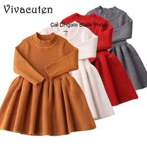 Autumn Winter Baby Dresses For Girls Long Sleeved Knit Princess Dress Kids Casual Solid O-neck Collar Dress Girls Baby Clothing