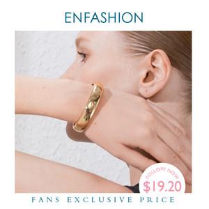 ENFASHION Blank weit Stulpe-Armbänder für Frauen Accessoires Goldfarben Einfache Minimalist Armbänder Mode Schmuck Großhandel B192029