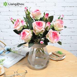 6Pcs Künstliche Blumen für immer Rosen-Blumen-Niederlassungs-Hochzeit Garten Zubehör Valentinstag Flores Garland