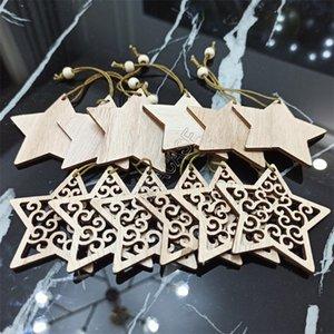 12pcs / Sets Weihnachten hölzerne hängende SNOW ELK Form Ausgehöhlte Christbaumschmuck für Festival-Party-Spielzeug D83103 Supplies