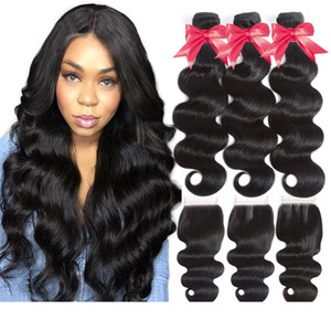 Brazilian Virgin Hair Bundles with Closure Body Wave Bundles With 4x4 Lace Closure Non-Remy Human Hair