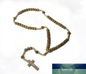 Madeira frisada Cruz Charme Pendant Necklace Christian jóias religiosas Jesus Rosário de madeira Beads Jewelry