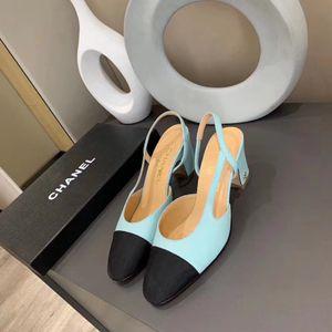 Top moda scarpe estive progettista donna punta aguzza tacchi alti slingbacks pompe sandali cinghia posteriore casuale concisi tacchi a spillo sottili A7
