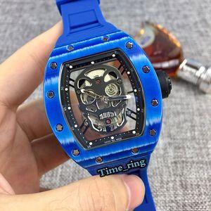 Лучший выпуск RM52-01 Скелет циферблат из углеродного волокна Корпус Япония Miyota автоматического движения RM52-01 Мужские часы Синий каучуковый ремешок Дизайнерские часы