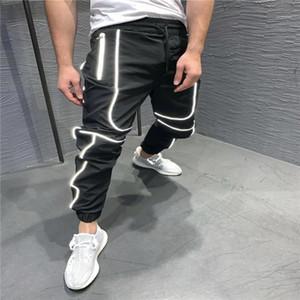 Calças reflexiva Basketball calças dos homens aptidão a longo Sports Running Men Pants Casual Sports solto Homens lápis