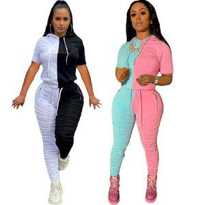2020 Fall Fashion Plus Size 2 Piece Joggers Set Women Trucksuit Leisure Suit Ladies Clothing Sweat Suits S74 T200824