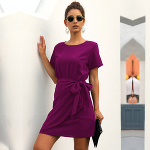 Новый А-линия Лето Над коленом, Mini Short O-образным вырезом Streetwear Твердая Natural Пояса Regular Vestidos MSFILIA
