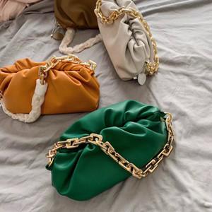 Nube gruesa cadena bolsa bolsa de 2020 Fold Nueva suave diseñador retro de las axilas Mujer de masa hervida bolsa de piel de vacuno del bolso de embrague