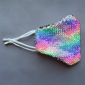 Fashion Colorful sequin mask mesh Mask Breathable Foldable Mouth Masks Reusable Reusable Anti-Dust Protective Masks sunscreen summer