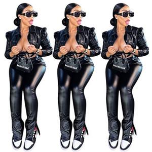 Ladies PU Conjuntos de couro Fashion Trend manga comprida Sexy Suits Botões Jacket Designer Feminino Casual curto magro Tops Calças Dois conjuntos de peças