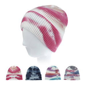 Malha Crochet Gorros Chapéu Mulheres Homens Inverno Quente Caps Moda Tie Dye Outdoor Hiphop Hat Headwear