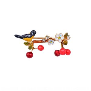 Новый ручной росписью личность цветы эмали птицы животное Cherry Pin Pin кулон брошь корсаж wo53R
