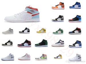 SnakeaskinИорданияРетро 1 желтый мужчин баскетбольной обуви высокого качества, тренеров 1S OG игры Royal Blue White черные мужские спортивные туфли 6505