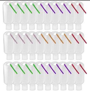 30ml / 50ml / 60ml de plástico transparente Llavero mano botellas de desinfectante recargables botellas vacías Contenedores Squeeze portátiles con tirón Cap DHC449