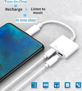 2 in 1 Type-C To 3.5mm Jack Earphone Adapter Connector AUX Audio Headphone USB-C to USB-C Charging Converter For Samsung Xiaomi Huawei