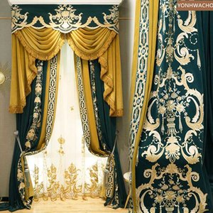 Custom curtain  villa flannel embroidery American bedroom blue velvet cloth blackout curtain valance tulle panel C328