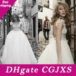 Netta Ben Shabu 2019 Plumas boda espagueti de los vestidos de encaje apliques de tul de novia Vestidos de novia sin espalda vestido del verano por encargo