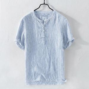 الرجال عارضة القمصان قميص الرجال الشارع الشهير قميص أوم الصيف خط بارد رقيقة تنفس شريط شريط القطن قصير الأكمام T522