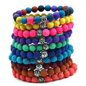 2020 New Fashion Women Volcano Lava Balance Bead Natural Stone Charm Bracelet Elastic Rope Colored Stone Bracelets 10pcs TB002