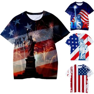 Clearance Promotion Hot Sale Toddler Kid Boys Summer 3D Print 4th of July T-shirt Tops Casual Clothes Cotton Short-sleeved