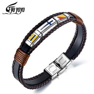 Couro de EyeYoYo 215 milímetros Men Cruz Woven Hand Vintage Bracelet Titanium Aço Bandeira de couro Bangle