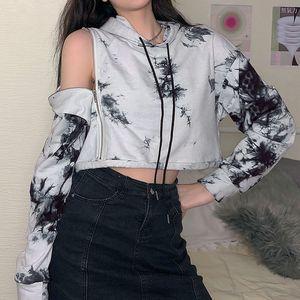 New 2020 autumn hooded drawstring irregular zipper cutout sexy strapless tie-dye sweater top sweatshirts Size S-L Streetwear