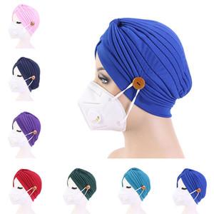 Turban Şapka Bayan saf saç bandı Düğme Kafa Turbante Şapkalar Uyku Şapka Yetişkin Bandana Saç Havlu Saç Aksesuar 500pcs T1I2268