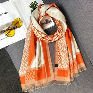 Nuevo estilo cálido letra H geométrica de espesor similar a manera de la cachemira de gran tamaño 190 * 65cm de la bufanda de regalo de Navidad Día de Año Nuevo