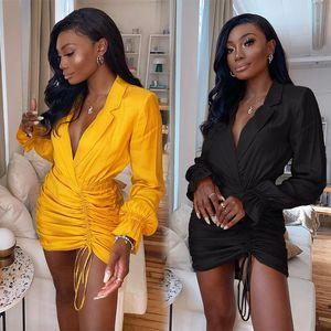 OMILKA Ruched Dress 2020 Autumn Women Long Sleeve Notched Yellow Black Club Party Bodycon Elegant Mini Vestidos De Festa