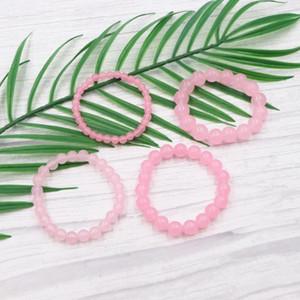 Reiki Cuentas de piedra natural de la Ronda pulseras curativas cristal de color rosa pulseras regalos para las mujeres del brazalete pulsera de Yoga B363 19cm joyería