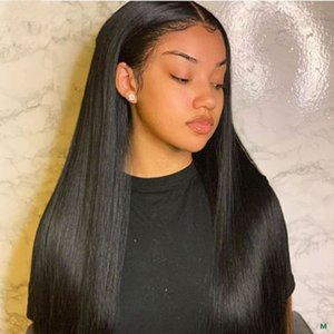 Closed Frontal Human Hair Black Long Straight Hair Wig 360 Lace Frontal Wig Female