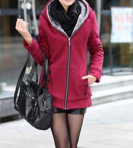 Women Sweatshirts Autumn Winter Casual Loose Warm Hoodies Outwear Long Sleeve Zipper Coat Female Top Drop Shipping