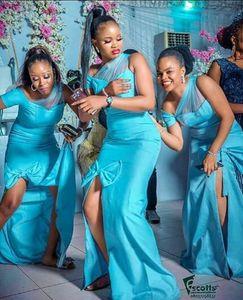 African black girl mermaid bridesmaid dresses split front robes de demoiselle d'honneur wedding guest dress formal dress