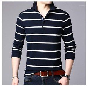 Mode Printemps Automne Polos Lapel manches longues col Slong Casual T-shirts hommes 4XL Plus Size Hauts Aîné Mens rayé
