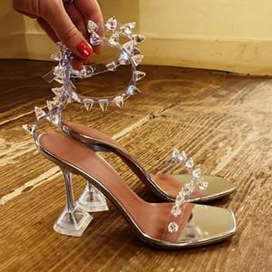 Trasparente Rivet Sandali donna 2020 punta quadrata Cancella tacchi per le donne estate sandali punta aperta di cristallo tacchi delle donne sexy