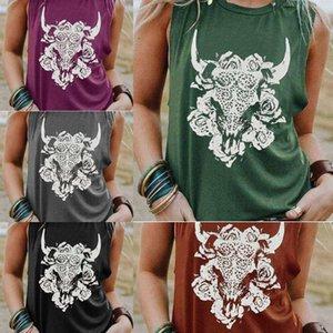 chHEk impreso pista de la vaca del verano de las mujeres de base redonda camiseta de la camisa del chaleco pequeño chaleco T cuello-