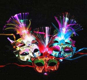 Led-Faser-Light Up Mask Venetian Abendkleid-Partei Prinzessin Feder glühende Maskerade Masken Gb1018
