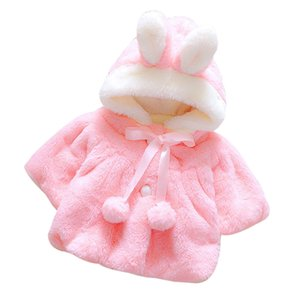 Baby Infant Girls Coats Fashion Winter Warm Thickening Kids Outwear Cute Ear Hooded Coat Girls Costume Solid Children Clothing