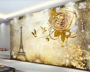 3D Wallpaper Flower European Nostalgic Retro Flower Tower TV Background Wall Romantic Landscape 3d Mural Wallpaper