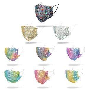 Moda Bling 3D Maskeler Yeniden kullanılabilir Gece Kulübü PM2.5 Club Yüz Bakımı Shield Güneş Altın Dirsek Pullarda Yüz Dağı Maskeler Maske