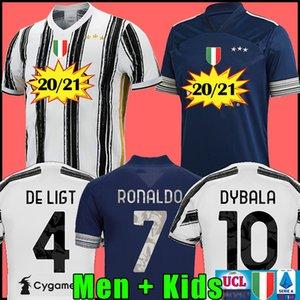 Fãs Versão do Jogador Juventus camisa de futebol camisa de futebol 2020 2021 RONALDO DE LIGT 20 21 uniformes RAMSEY DYBALA JUVE campeões da liga homens + crianças kit 4ª quarta