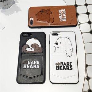 Мода IPhone Дело Iphone 11 / 11Pro / 11P Max / XSMAX 7P / 8P 7/8 XR X / XS Конструкторы Повседневный Медведь Печатный кожаный чехол 3 Стиль Доступный