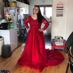 Red Illusion Luxury Lace Appliques Illusion Slit Evening Dresses Open Back Formal Party Gowns Long Sleeve Prom Dresses