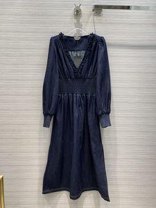 Milan Runway Kleider 2020 V-Ausschnitt Langarm Panelled Designer Kleid Marke Same-Art-Kleid 0904-5