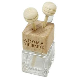 frascos de perfume del coche con la botella del aroma del coche difusor botella de perfume de cristal cuadrada de salida de aire tapa y clip coche acondicionador de aire de madera tornillo